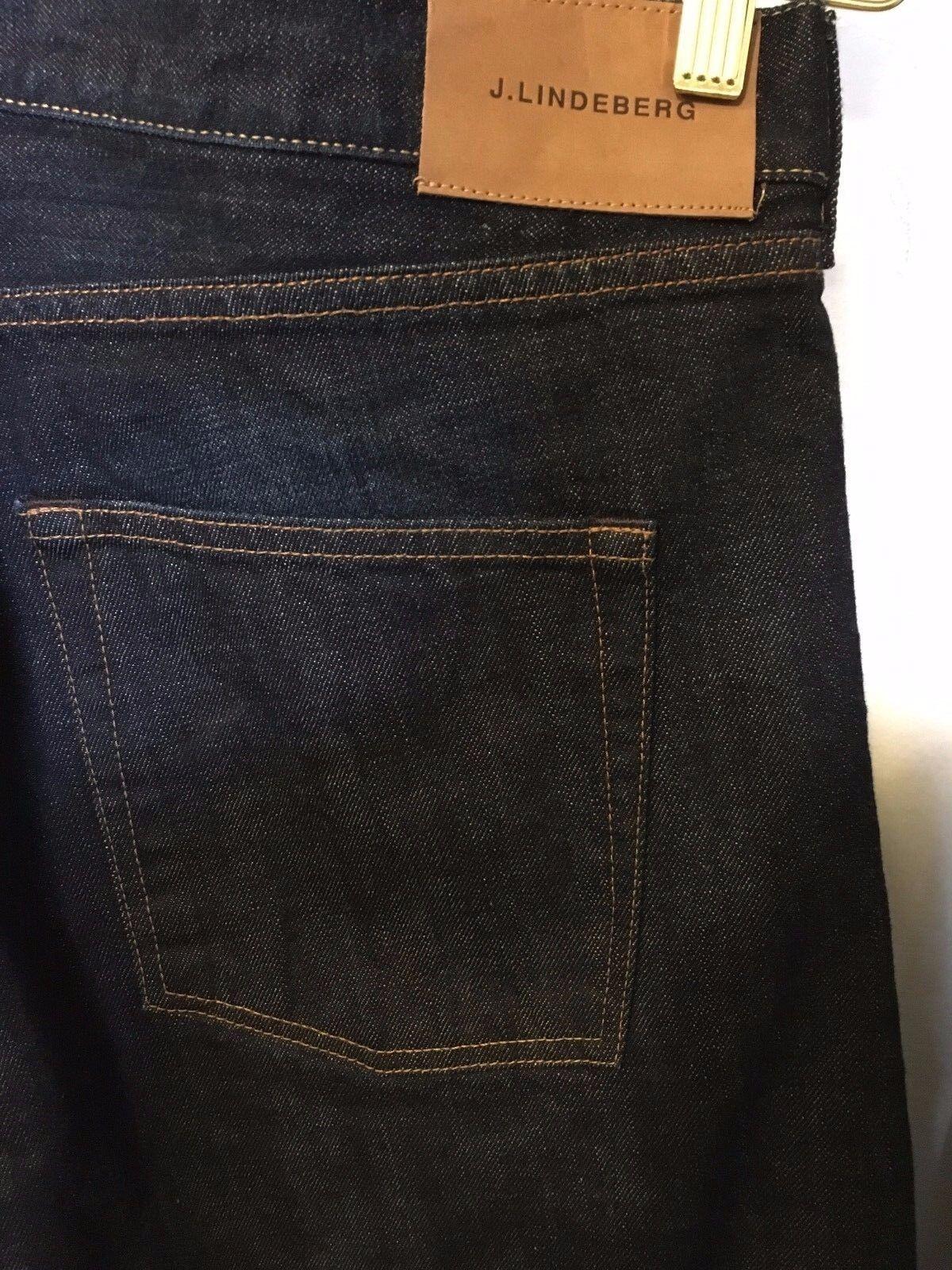 J. Lindeberg men's jeans rinse dark bluee straight Slim fit denim size 38