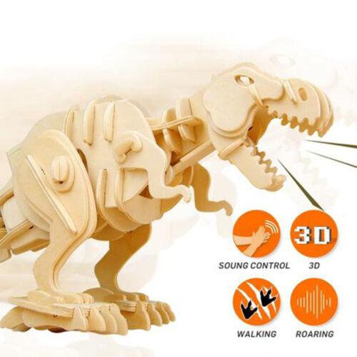 Sound Control T-Rex 3D en bois Puzzle Modèle Kit DINOSAURE CRAFT jouet enfants/adultes