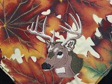 Dinner Napkins Handmade Deer Head Hunting Embroidery Leaves 100% Cotton