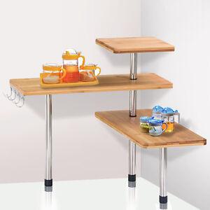 storage corner shelf unit bamboo 3 shelves kitchen. Black Bedroom Furniture Sets. Home Design Ideas