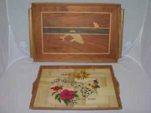 2 Vintage~HAWAII-Hawaiian~WOOD SERVING TRAYS~Hula-Whale-Nautical Sea Beach Decor