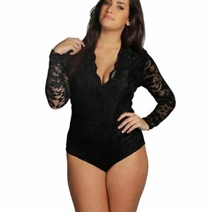 8a58879f6be Womens Plus Size Molly Lace Long Sleeve Bodysuit Lace Top Leotard UK ...