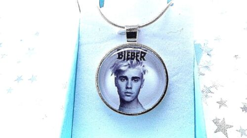 JUSTIN BIEBER MUSIC SINGER PHOTO  SILVER PLATED 24 INCH  NECKLACE GIFT BOX party