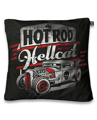 HOT ROD HELLCAT CAR SKULL CUSHION PILLOW COVER TATTOO BIKER ROCKABILLY RETRO