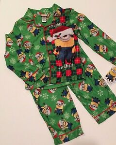 Despicable Me MINIONS Christmas Flannel PJs Pajamas Boys Sizes 4 6 ...