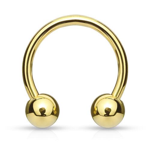 16G 14G Gold Plated Horseshoe Circular Barbell Lip Septum Earring with Balls