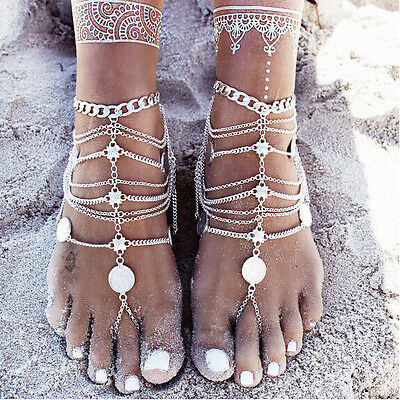 Bohemian vintage silver multilayer coin flower charms anklet bracelets jewelry