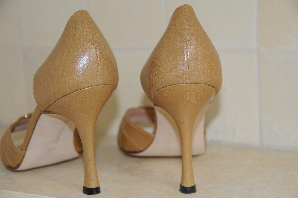 Neuf Femmeolo Blahnik Sedaraby Chameau Cuir 8 Beige Orné Chaussures 38.5 8.5 8 Cuir 86036c