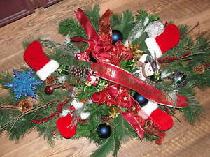 Christmas-Tree-Ornaments-Cemetery-Grave-Pillow-Blanket-Silk-Flowers-Stockings