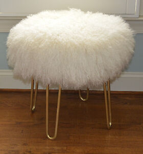 Real Natural White Mongolian Lamb Fur Stool Tibet Lamb