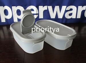 Tupperware-Modular-Mates-Oval-Container-1-with-Pour-All-Seal-in-Grey-Set-2-New