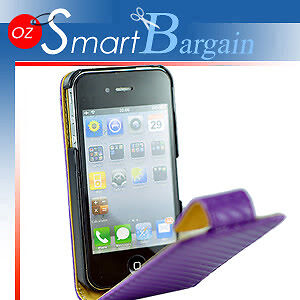 Carbon-Fibre-PURPLE-Flip-Leather-Case-Cover-For-iPhone-4G-4GS-Screen-Protector
