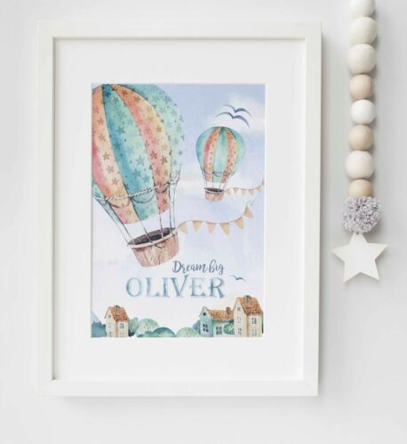 Hot Air Balloon Personalised Child/'s Picture Print Name Wall Art Gift UNFRAMED