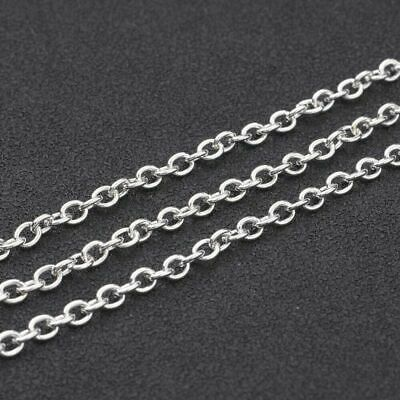 2 Metres x Silver Plated Cable Chain 3mm x 2mm Link Jewellery Findings