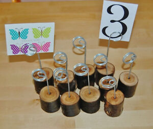 60 MEMO Card Stand Holders Wooden Base Rustic Wedding Table Number Place Name
