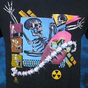vintage 80s CRAB SKULL SWORD PAPER THIN T-Shirt LARGE punk cancer cartoon rock