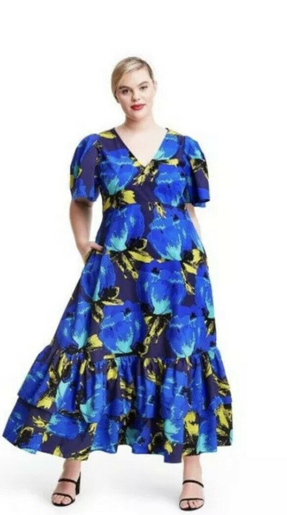 christopher john roger blue floral ruffle tiered … - image 3
