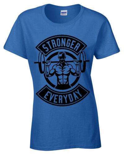 Plus forte de tous les jours Femme t shirt Haltérophilie Gym Entraînement Musculation Femme