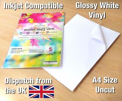 1x A4 Laser Printable White Gloss Self adhesive Vinyl Sheet 297x210mm