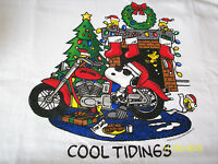 Snoopy Christmas cool Tidings On Motorcycle White Tshirt