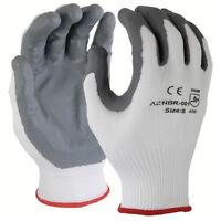 120 Pairs White 15 Gauge Premium Nylon Lycra Liner Gray Palm Safety Glove,