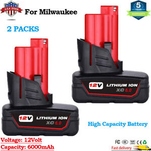 2X 6.0Ah For Milwaukee M12 12 Volt XC 6.0 Extended Capacity Battery 48-11-2460