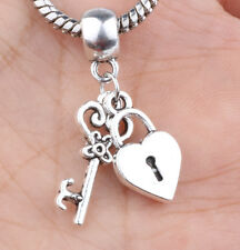 2P European Silver CZ Charm Beads Fit sterling 925 Necklace Bracelet Chain #B631