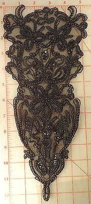 "Black long beaded applique with 3 flowers pattern 12"" x 5.5"""