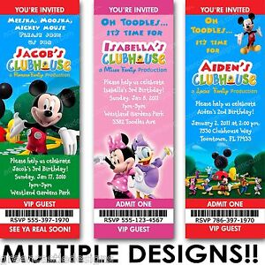 Image Is Loading Mickey Minnie Mouse Clubhouse Birthday Party Invitation
