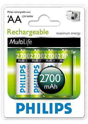 Philips Rechargeable Battery AA 2700mAh 4 Batteries Rechargeable Batteries New