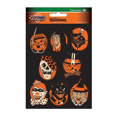 HALLOWEEN Character Faces STICKERS Vintage Artwork Beistle Reproduction 1952