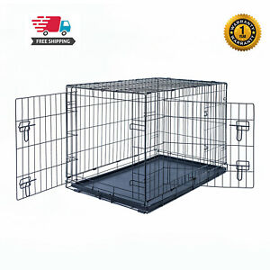 30-034-Dog-Crate-Kennel-Folding-Pet-Cage-Metal-2Door-With-Tray-Black