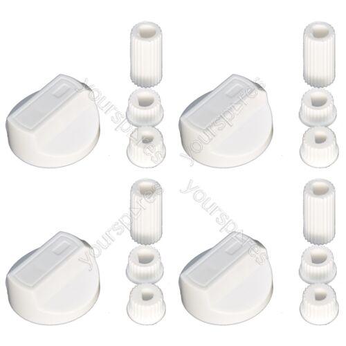 4 X Bianco Universale Stoves Belling New World fornello forno piano cottura manopole di controllo