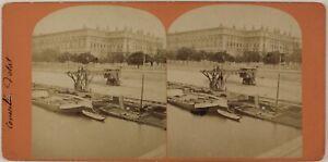Parigi La Senna Francia Foto Stereo Vintage Albumina c1870