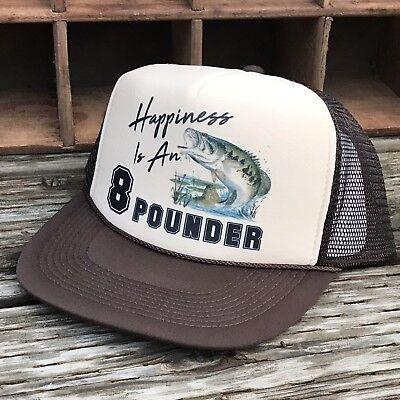 3 Rainbow Trout Steelhead Fishing Derby Trucker Hat Vintage 80 Style Black White