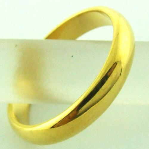 RING GENUINE REAL 18K YELLOW G//F GOLD SOLID HALF ROUND BAND DESIGN SIZE P  8