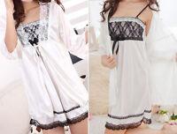 Neu Sexy Frau Lace Pajama Schlafanzug Robe Twinset Seide Rock weiß Schlaf Abend