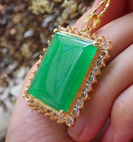 Yellow Gold Plate Green JADE Pendant Rectangle Necklace Diamond Imitation 310041