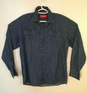 Wrangler-Mens-Denim-Shirt-Size-M-Blue-Long-Sleeve-Button-Medium