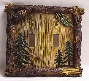 Pine Tree Double Light Switch Plate Cover Rustic Home