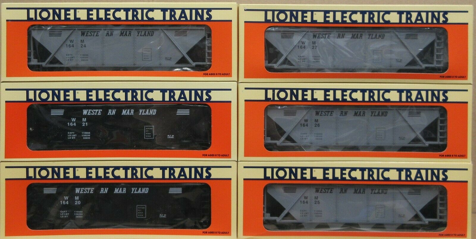 Lionel 6164202124252627 Maryle occidentale Hopper AUTO 6Pack oGauge Nuovo in Scatola