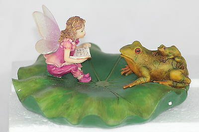 FLOATING LILY WITH FAIRY & FROG - GARDEN POND ORNAMENT - UNUSUAL GIFT