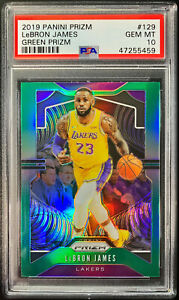 2019-Panini-Prizm-Lebron-James-GREEN-PSA-10-GEM-MINT-1st-Year-Lakers-Jersey