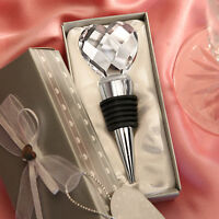 70 Heart Wine Bottle Stopper Crystal Bridal Event Wedding Party Favor Bulk Lot
