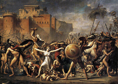 """Oil painting Jacques-Louis David - The Intervention of the Sabine Women War 48"""""""