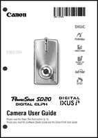 Canon Powershot Sd20 Ixus I5 Digital Camera User Guide Instruction Manual