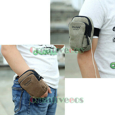 Men Canvas Jogging Running Sports Cell/Mobile Phone Writ Carpal Arm Band Leg Bag