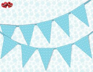 Winter-pattern-snowflake-blue-Christmas-Bunting-Banner-15-flags-by-PARTY-DECOR