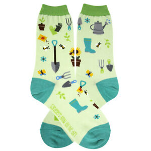 Gardener Foot Traffic Women's Crew Socks Green New Novelty Dirt Therapy Fashion