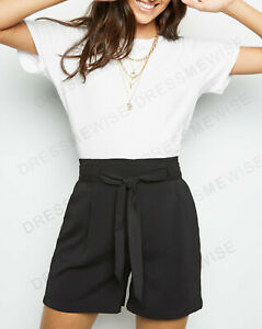 New-Look-Womens-High-Waisted-Summer-Holiday-Casual-Belted-Shorts-in-Black